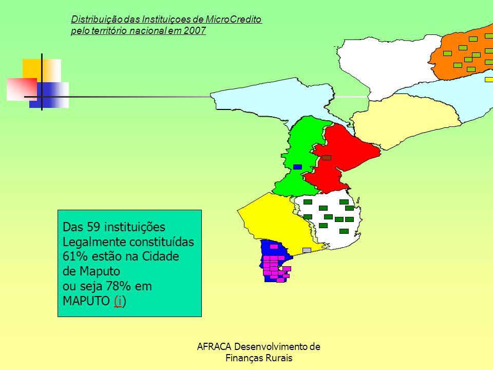 AFRACA Desenvolvimento de Finanças Rurais Distribuição das Instituiçoes de MicroCredito pelo território nacional em 2007 Das 59 instituições Legalment