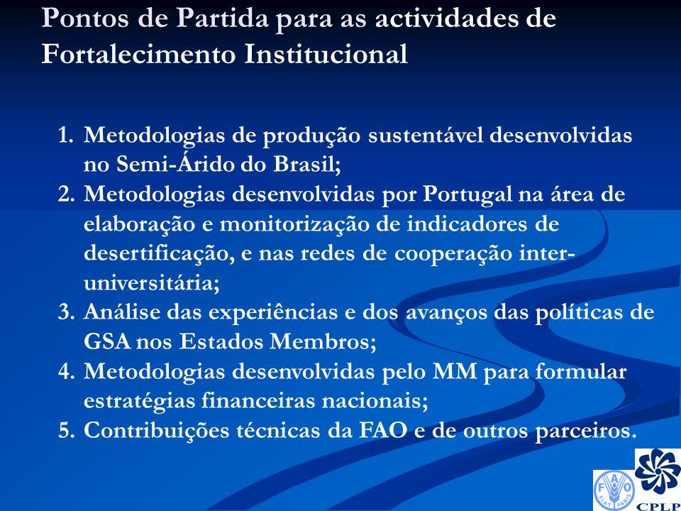 Pontos de Partida para as Pontos de Partida para as actividades de Fortalecimento Institucional 1.Metodologias de produção sustentável desenvolvidas no Semi-Árido do Brasil; 2.Metodologias desenvolvidas por Portugal na área de elaboração e monitorização de indicadores de desertificação, e nas redes de cooperação inter- universitária; 3.Análise das experiências e dos avanços das políticas de GSA nos Estados Membros; 4.Metodologias desenvolvidas pelo MM para formular estratégias financeiras nacionais; 5.Contribuições técnicas da FAO e de outros parceiros.