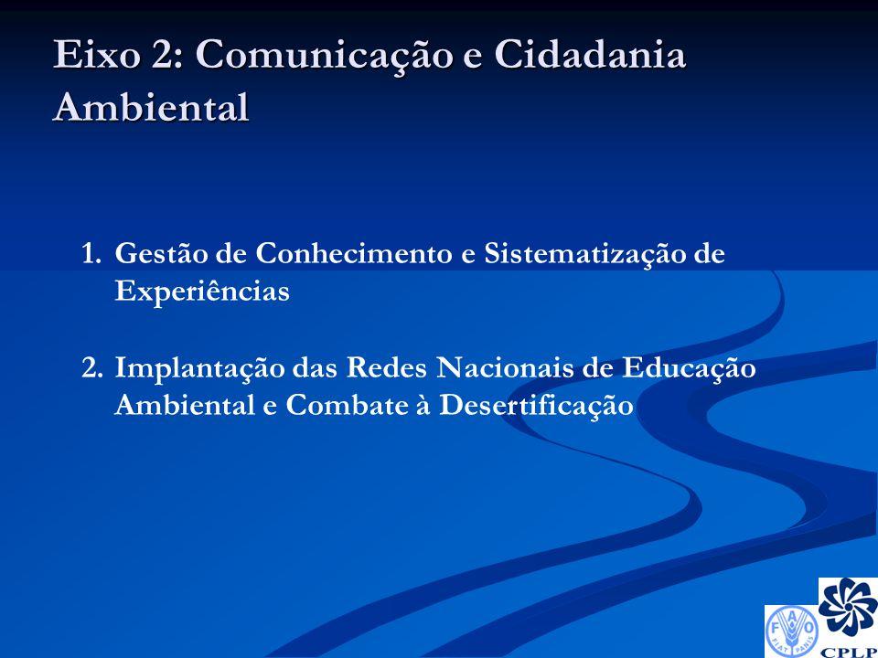 Eixo 2: Comunicação e Cidadania Ambiental 1.Gestão de Conhecimento e Sistematização de Experiências 2.Implantação das Redes Nacionais de Educação Ambiental e Combate à Desertificação