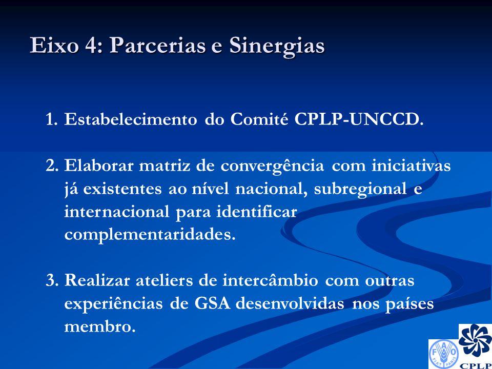 Eixo 4: Parcerias e Sinergias 1.Estabelecimento do Comité CPLP-UNCCD.