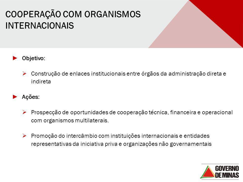 COOPERAÇÃO COM ORGANISMOS INTERNACIONAIS ► Objetivo:  Construção de enlaces institucionais entre órgãos da administração direta e indireta ► Ações: 
