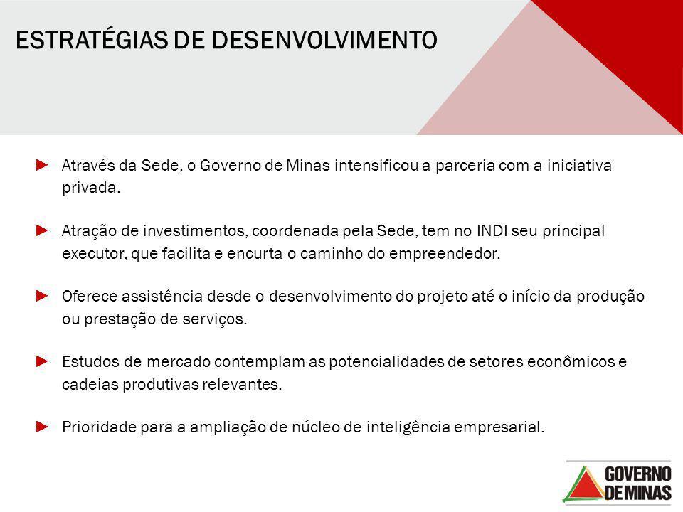 ► Através da Sede, o Governo de Minas intensificou a parceria com a iniciativa privada. ► Atração de investimentos, coordenada pela Sede, tem no INDI