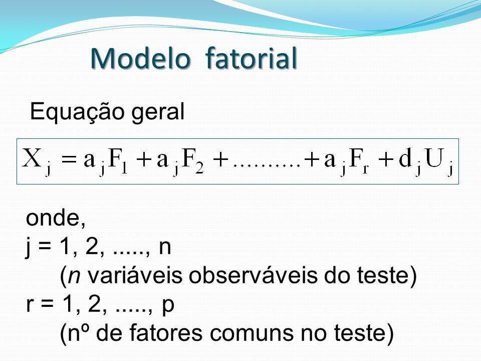 Equação geral onde, j = 1, 2,....., n (n variáveis observáveis do teste) r = 1, 2,....., p (nº de fatores comuns no teste) Modelo fatorial