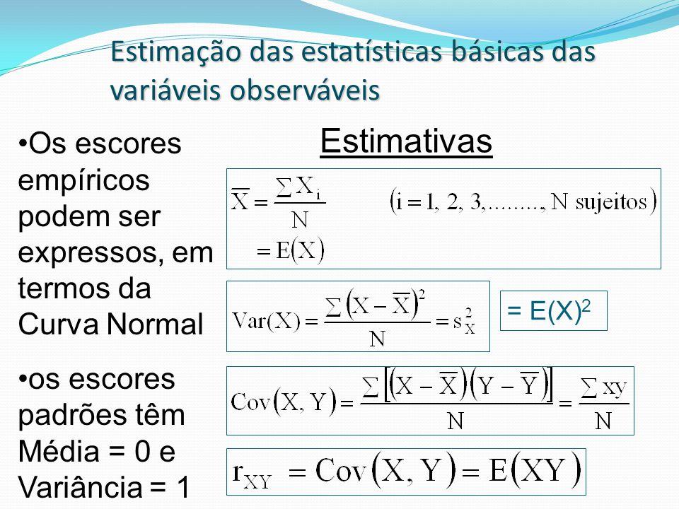 Estimativas Estimação das estatísticas básicas das variáveis observáveis Os escores empíricos podem ser expressos, em termos da Curva Normal os escores padrões têm Média = 0 e Variância = 1 = E(X) 2