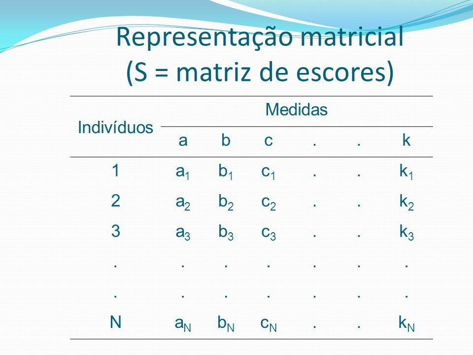 Representação matricial (S = matriz de escores) Indivíduos Medidas abc..k 1a1a1 b1b1 c1c1..k1k1 2a2a2 b2b2 c2c2..k2k2 3a3a3 b3b3 c3c3..k3k3...........