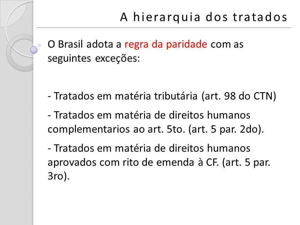 A hierarquia dos tratados O Brasil adota a regra da paridade com as seguintes exceções: - Tratados em matéria tributária (art. 98 do CTN) - Tratados e