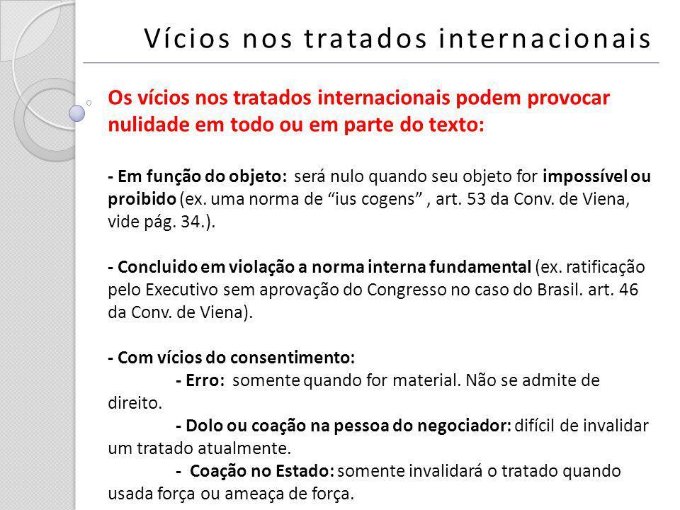 Vícios nos tratados internacionais Os vícios nos tratados internacionais podem provocar nulidade em todo ou em parte do texto: - Em função do objeto: