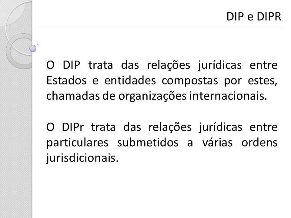 DIP e DIPR O DIP trata das relações jurídicas entre Estados e entidades compostas por estes, chamadas de organizações internacionais. O DIPr trata das