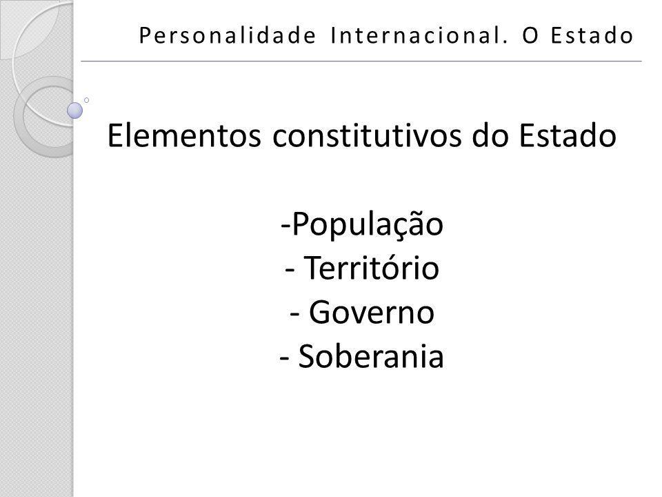 Personalidade Internacional. O Estado Elementos constitutivos do Estado -População - Território - Governo - Soberania