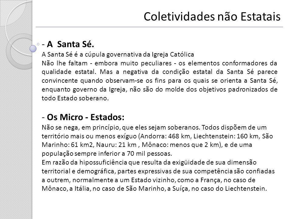 Coletividades não Estatais - A Santa Sé. A Santa Sé é a cúpula governativa da Igreja Católica Não lhe faltam - embora muito peculiares - os elementos