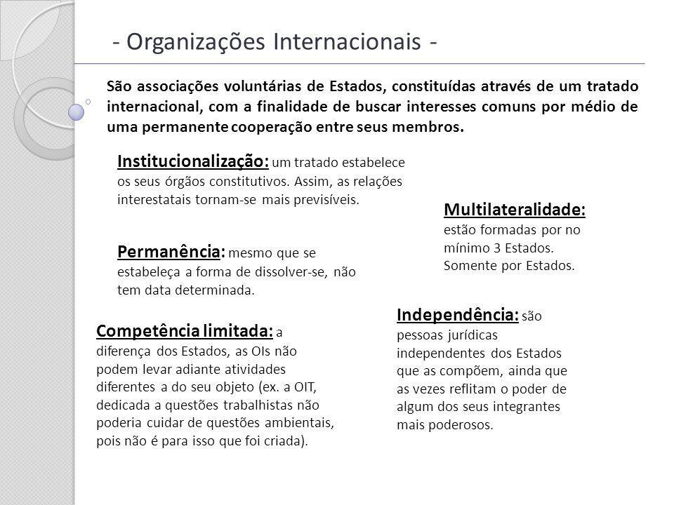 - Organizações Internacionais - São associações voluntárias de Estados, constituídas através de um tratado internacional, com a finalidade de buscar i