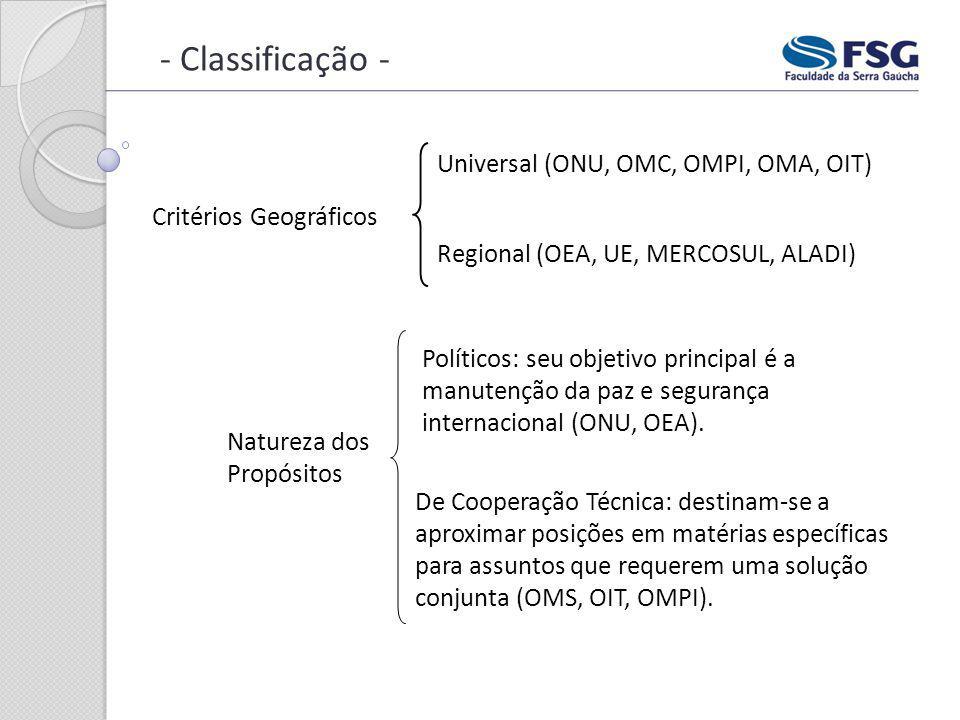 - Classificação - Critérios Geográficos Universal (ONU, OMC, OMPI, OMA, OIT) Regional (OEA, UE, MERCOSUL, ALADI) Natureza dos Propósitos Políticos: se