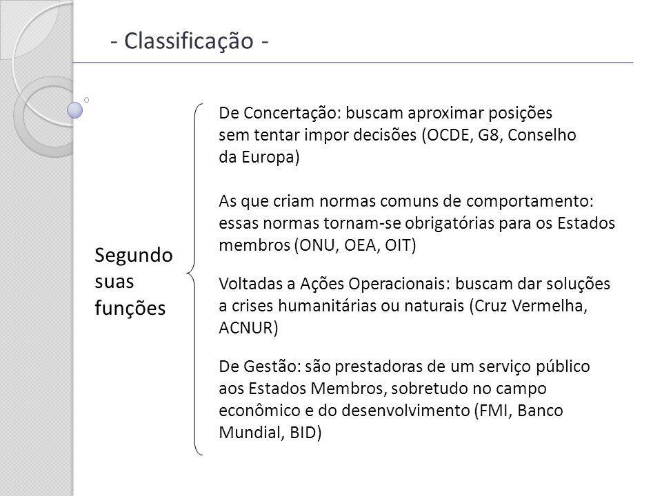 - Classificação - Segundo suas funções De Concertação: buscam aproximar posições sem tentar impor decisões (OCDE, G8, Conselho da Europa) As que criam