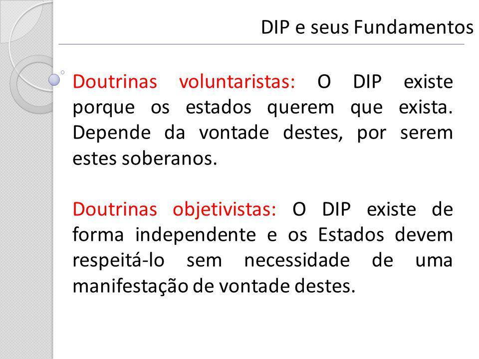 DIP e seus Fundamentos Doutrinas voluntaristas: O DIP existe porque os estados querem que exista. Depende da vontade destes, por serem estes soberanos
