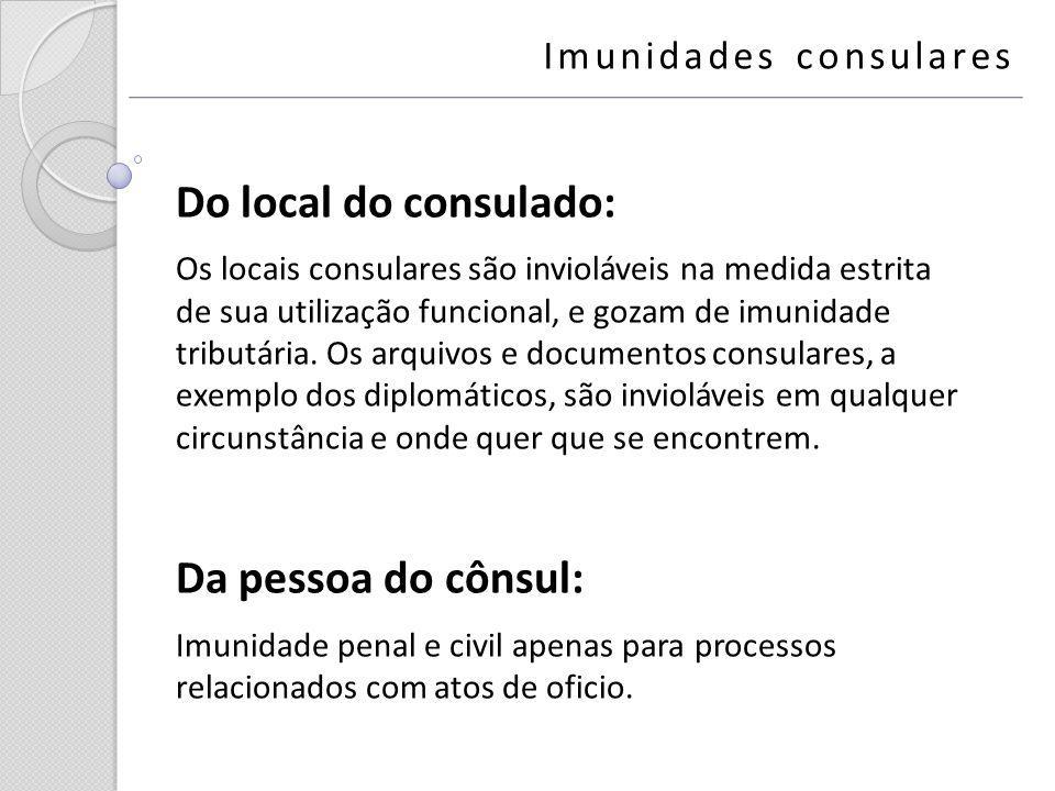 Do local do consulado: Os locais consulares são invioláveis na medida estrita de sua utilização funcional, e gozam de imunidade tributária. Os arquivo