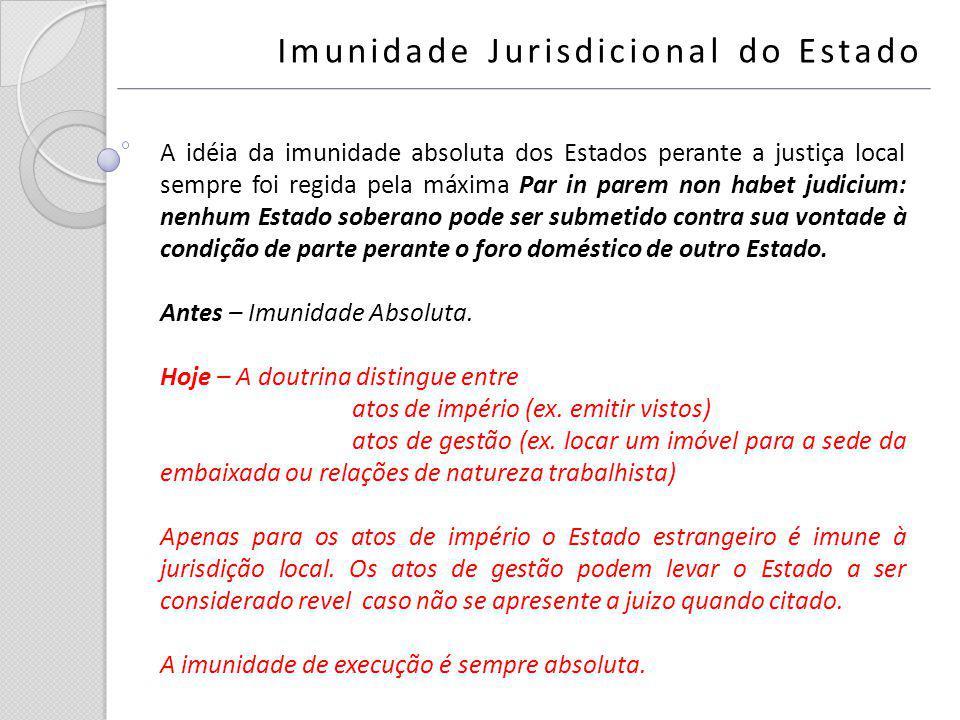 A idéia da imunidade absoluta dos Estados perante a justiça local sempre foi regida pela máxima Par in parem non habet judicium: nenhum Estado soberan