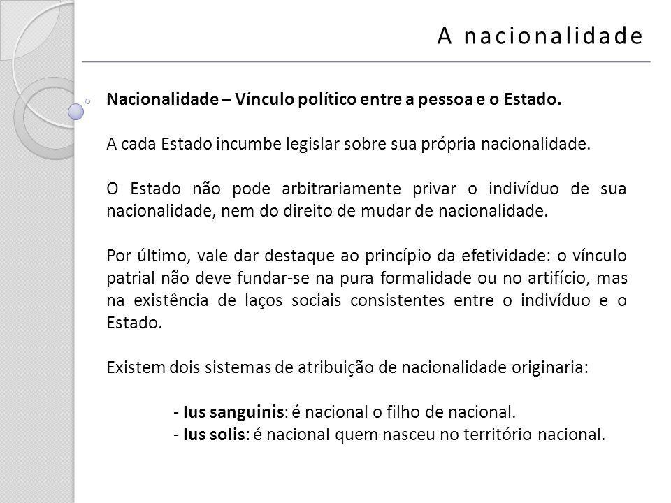 A nacionalidade Nacionalidade – Vínculo político entre a pessoa e o Estado. A cada Estado incumbe legislar sobre sua própria nacionalidade. O Estado n