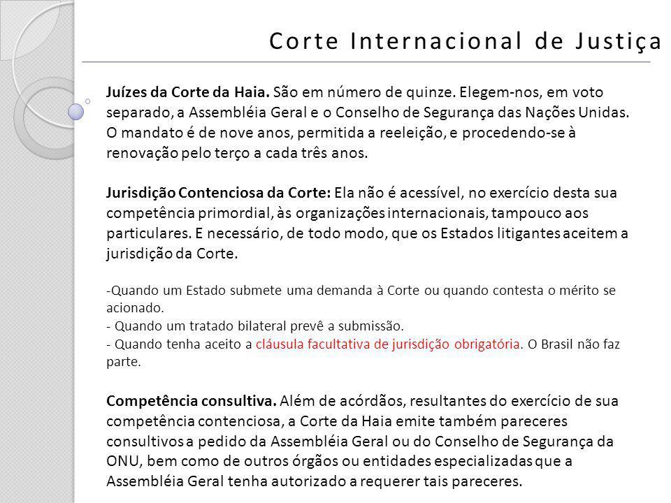 Corte Internacional de Justiça Juízes da Corte da Haia. São em número de quinze. Elegem-nos, em voto separado, a Assembléia Geral e o Conselho de Segu