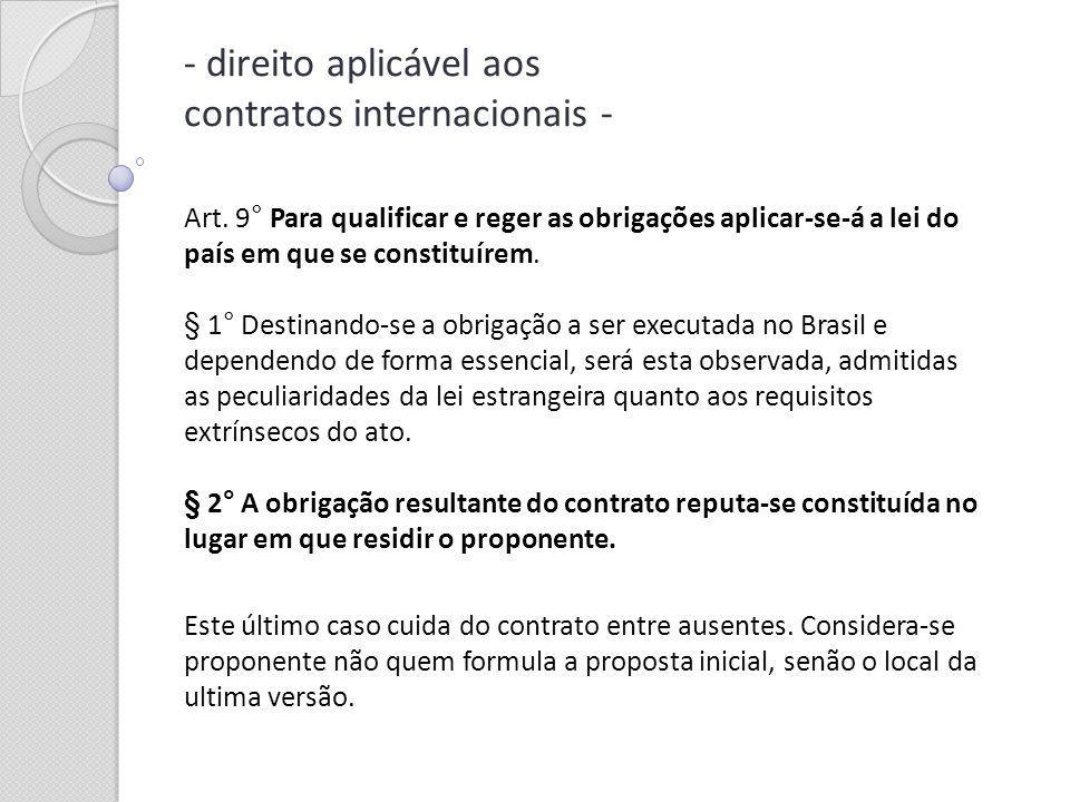 Art. 9° Para qualificar e reger as obrigações aplicar-se-á a lei do país em que se constituírem. § 1° Destinando-se a obrigação a ser executada no Bra
