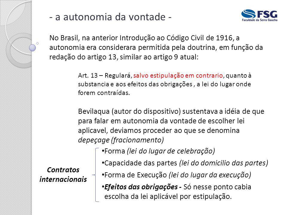 - a autonomia da vontade - No Brasil, na anterior Introdução ao Código Civil de 1916, a autonomia era considerara permitida pela doutrina, em função d