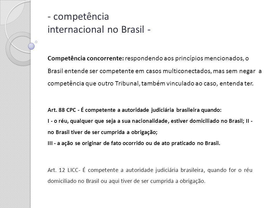 - competência internacional no Brasil - Art. 88 CPC - É competente a autoridade judiciária brasileira quando: I - o réu, qualquer que seja a sua nacio