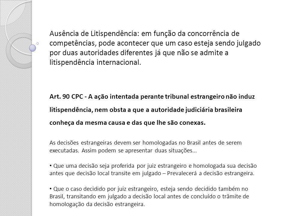 Ausência de Litispendência: em função da concorrência de competências, pode acontecer que um caso esteja sendo julgado por duas autoridades diferentes