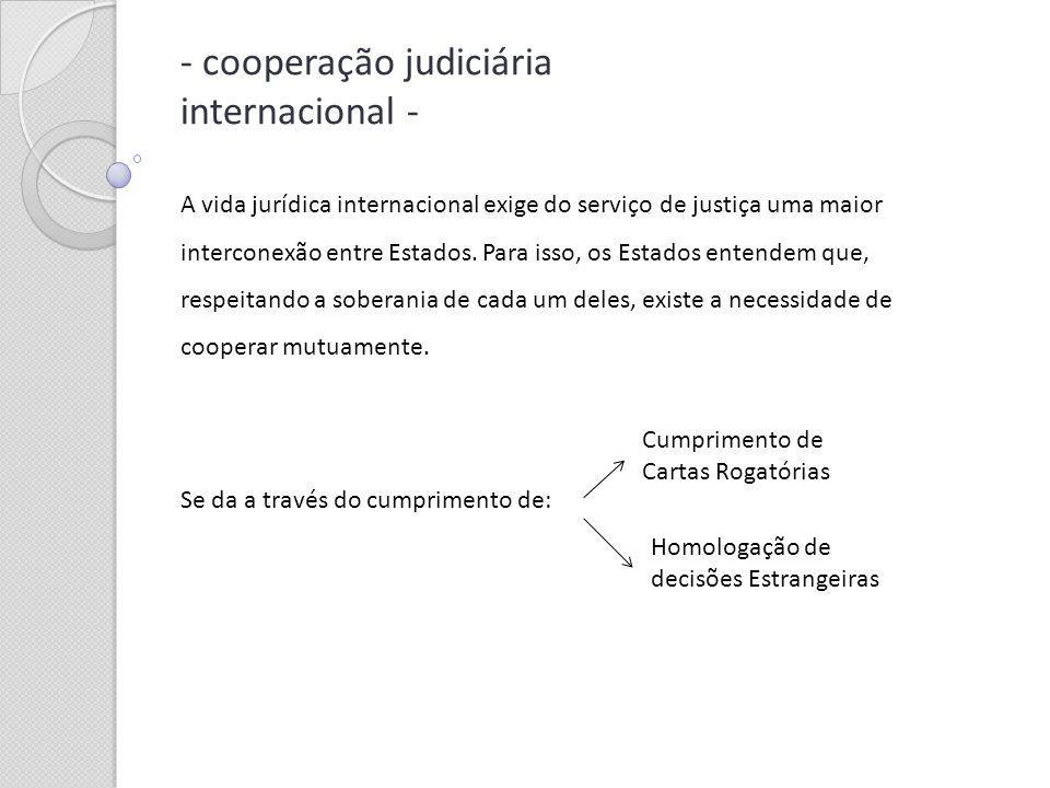 - cooperação judiciária internacional - A vida jurídica internacional exige do serviço de justiça uma maior interconexão entre Estados. Para isso, os
