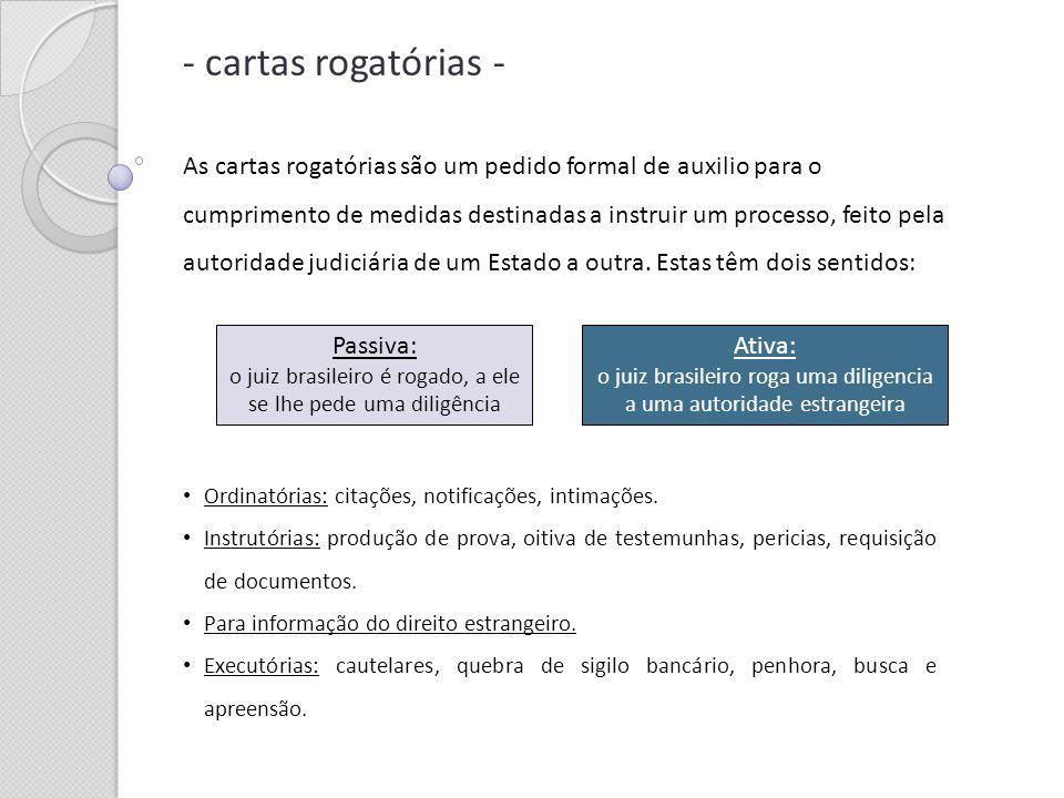 - cartas rogatórias - As cartas rogatórias são um pedido formal de auxilio para o cumprimento de medidas destinadas a instruir um processo, feito pela