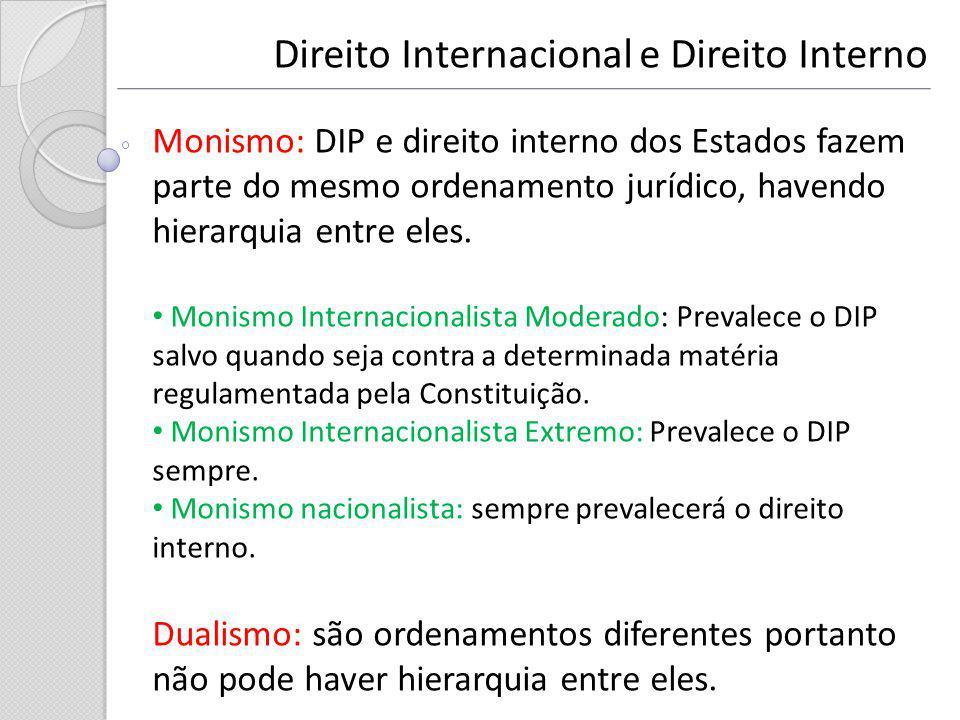 Direito Internacional e Direito Interno Monismo: DIP e direito interno dos Estados fazem parte do mesmo ordenamento jurídico, havendo hierarquia entre