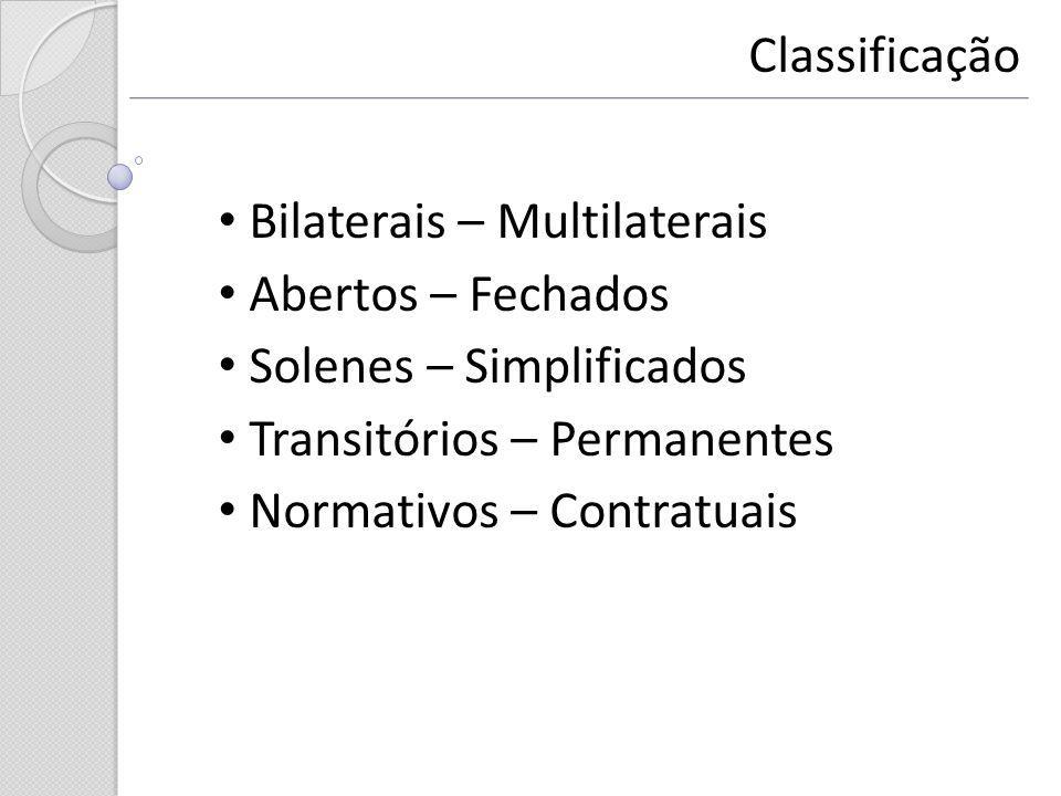 Bilaterais – Multilaterais Abertos – Fechados Solenes – Simplificados Transitórios – Permanentes Normativos – Contratuais Classificação