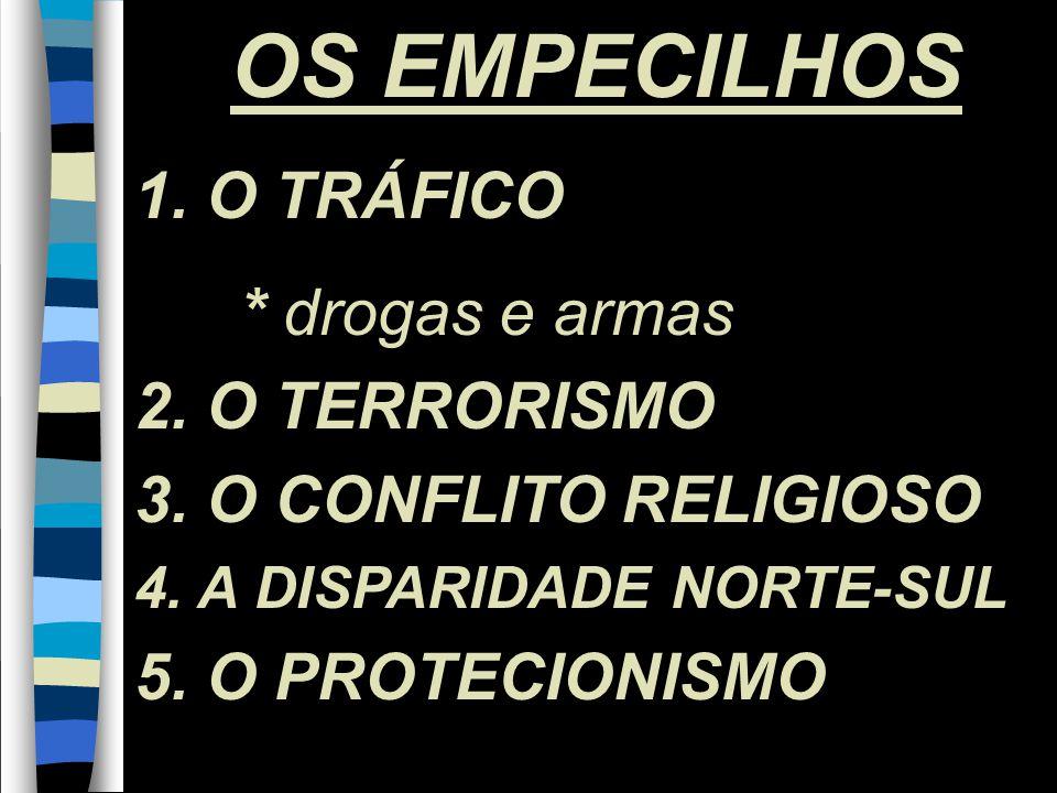 10 OS EMPECILHOS 1. O TRÁFICO * drogas e armas 2.