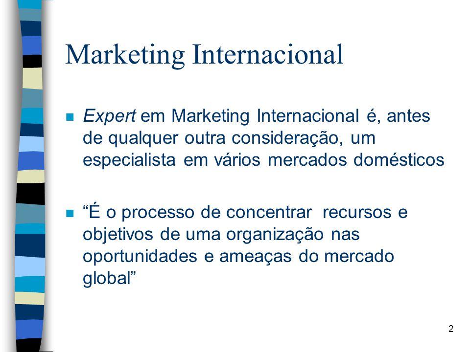 2 Marketing Internacional n Expert em Marketing Internacional é, antes de qualquer outra consideração, um especialista em vários mercados domésticos n É o processo de concentrar recursos e objetivos de uma organização nas oportunidades e ameaças do mercado global
