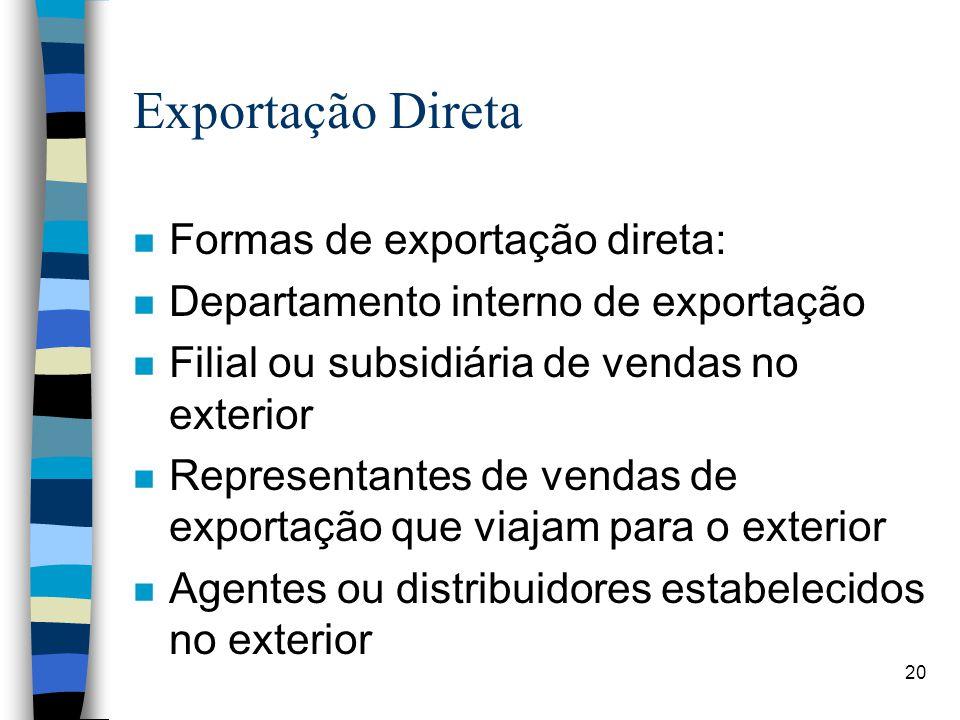 20 Exportação Direta n Formas de exportação direta: n Departamento interno de exportação n Filial ou subsidiária de vendas no exterior n Representantes de vendas de exportação que viajam para o exterior n Agentes ou distribuidores estabelecidos no exterior