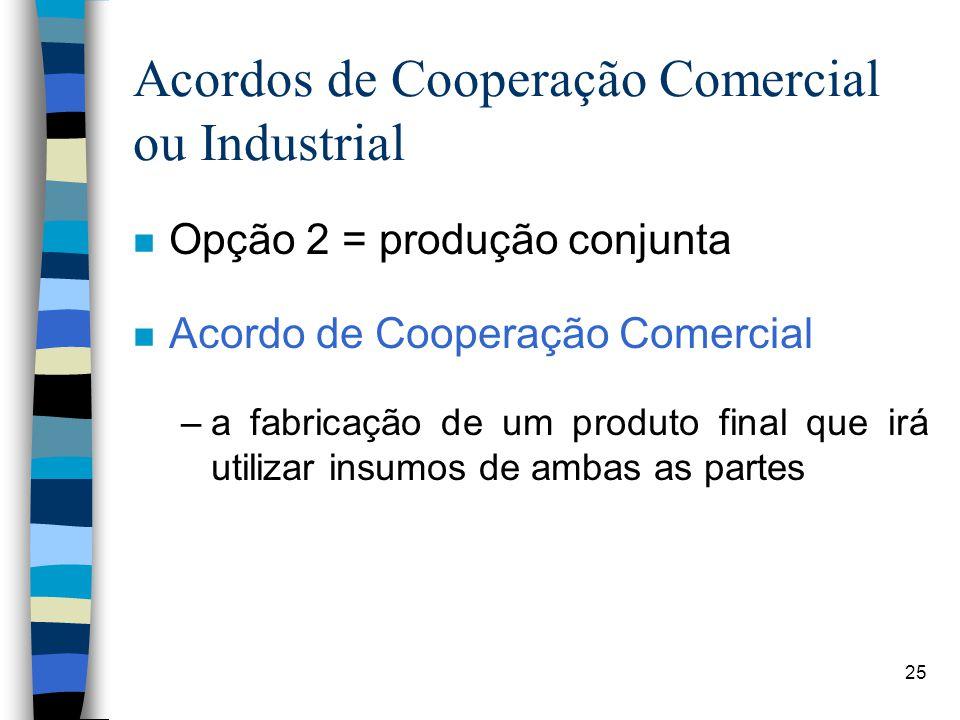 25 Acordos de Cooperação Comercial ou Industrial n Opção 2 = produção conjunta n Acordo de Cooperação Comercial –a fabricação de um produto final que irá utilizar insumos de ambas as partes