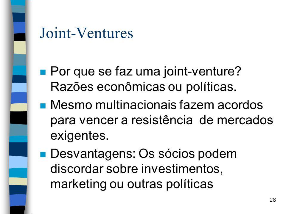 28 Joint-Ventures n Por que se faz uma joint-venture.
