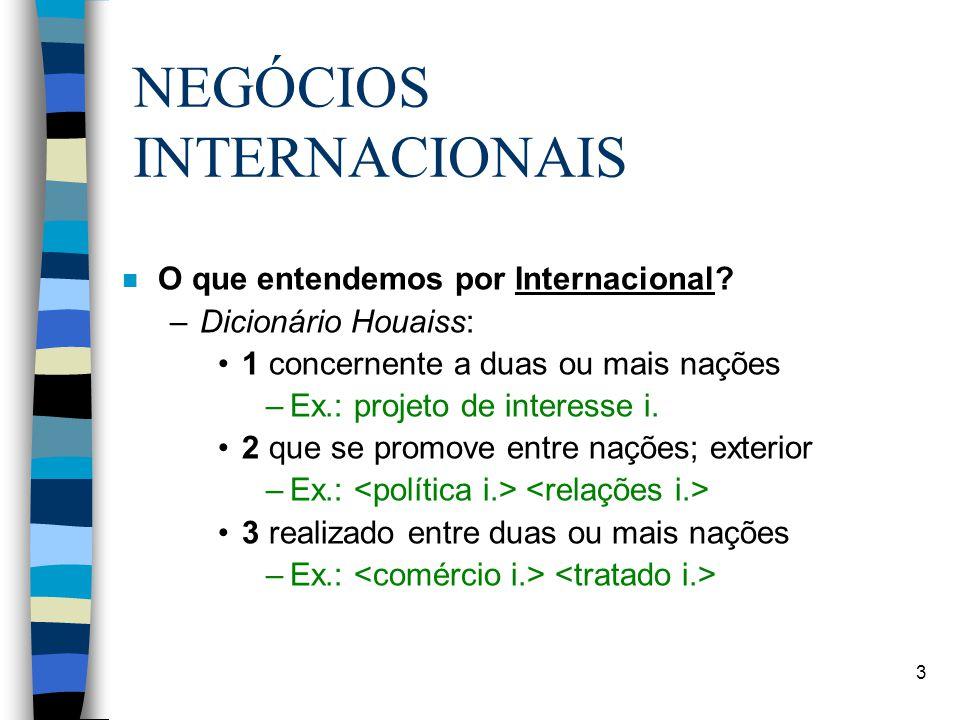 3 NEGÓCIOS INTERNACIONAIS n O que entendemos por Internacional.