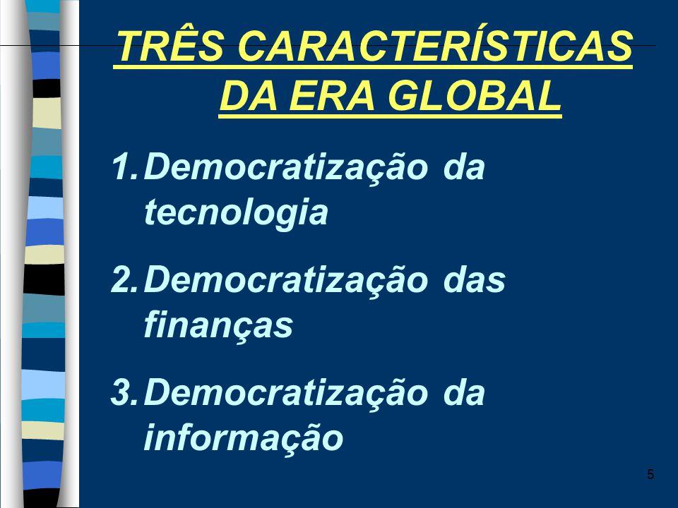5 TRÊS CARACTERÍSTICAS DA ERA GLOBAL 1.Democratização da tecnologia 2.Democratização das finanças 3.Democratização da informação