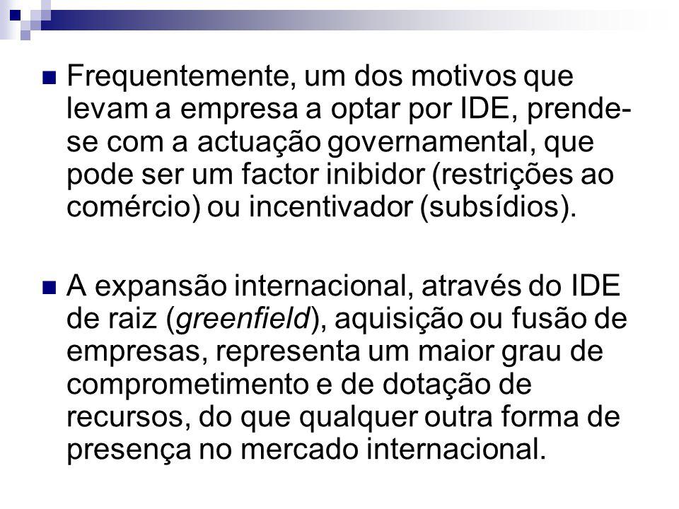 Frequentemente, um dos motivos que levam a empresa a optar por IDE, prende- se com a actuação governamental, que pode ser um factor inibidor (restrições ao comércio) ou incentivador (subsídios).