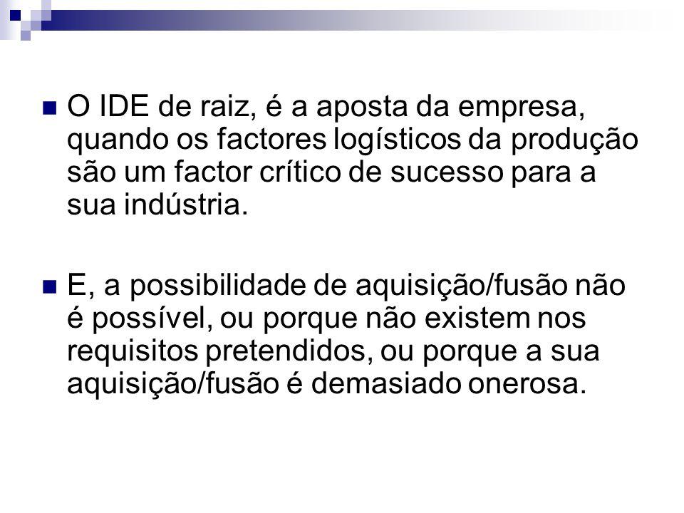 O IDE de raiz, é a aposta da empresa, quando os factores logísticos da produção são um factor crítico de sucesso para a sua indústria. E, a possibilid