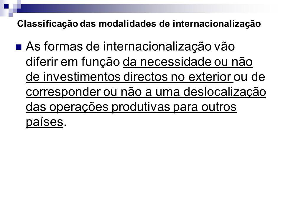 Classificação das modalidades de internacionalização As formas de internacionalização vão diferir em função da necessidade ou não de investimentos directos no exterior ou de corresponder ou não a uma deslocalização das operações produtivas para outros países.