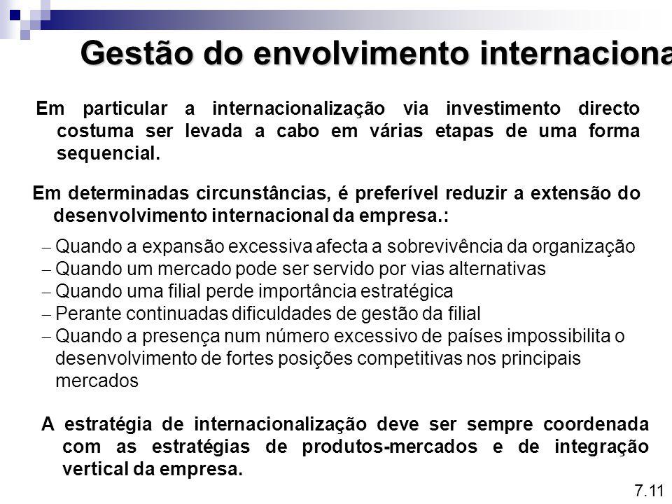 Gestão do envolvimento internacional Em particular a internacionalização via investimento directo costuma ser levada a cabo em várias etapas de uma fo