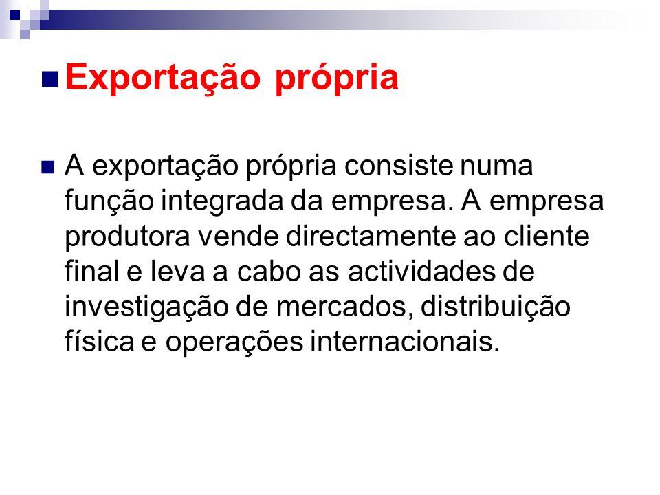 Exportação própria A exportação própria consiste numa função integrada da empresa. A empresa produtora vende directamente ao cliente final e leva a ca