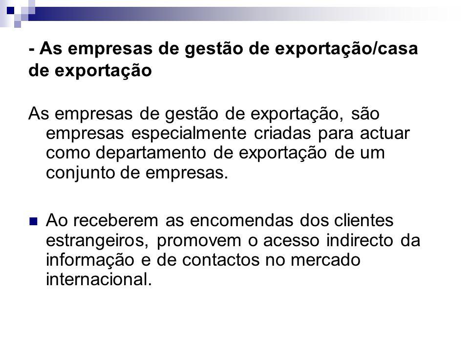 - As empresas de gestão de exportação/casa de exportação As empresas de gestão de exportação, são empresas especialmente criadas para actuar como departamento de exportação de um conjunto de empresas.