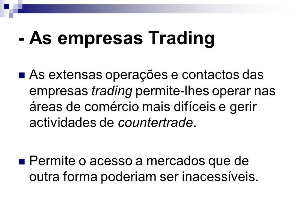 - As empresas Trading As extensas operações e contactos das empresas trading permite-lhes operar nas áreas de comércio mais difíceis e gerir actividades de countertrade.