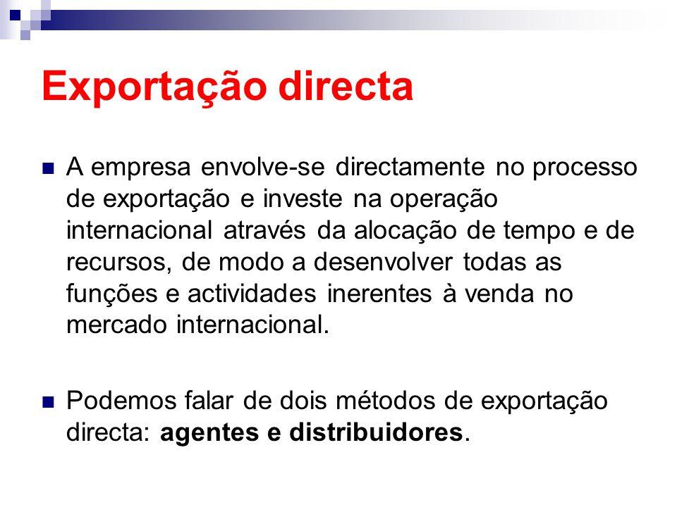 Exportação directa A empresa envolve-se directamente no processo de exportação e investe na operação internacional através da alocação de tempo e de r