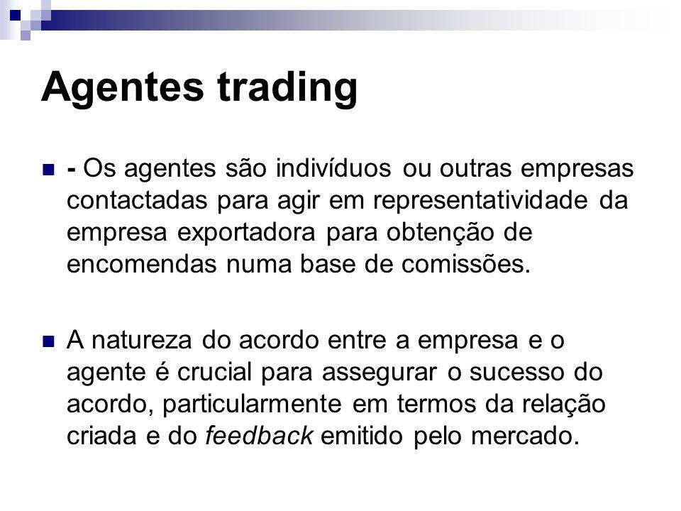 Agentes trading - Os agentes são indivíduos ou outras empresas contactadas para agir em representatividade da empresa exportadora para obtenção de encomendas numa base de comissões.