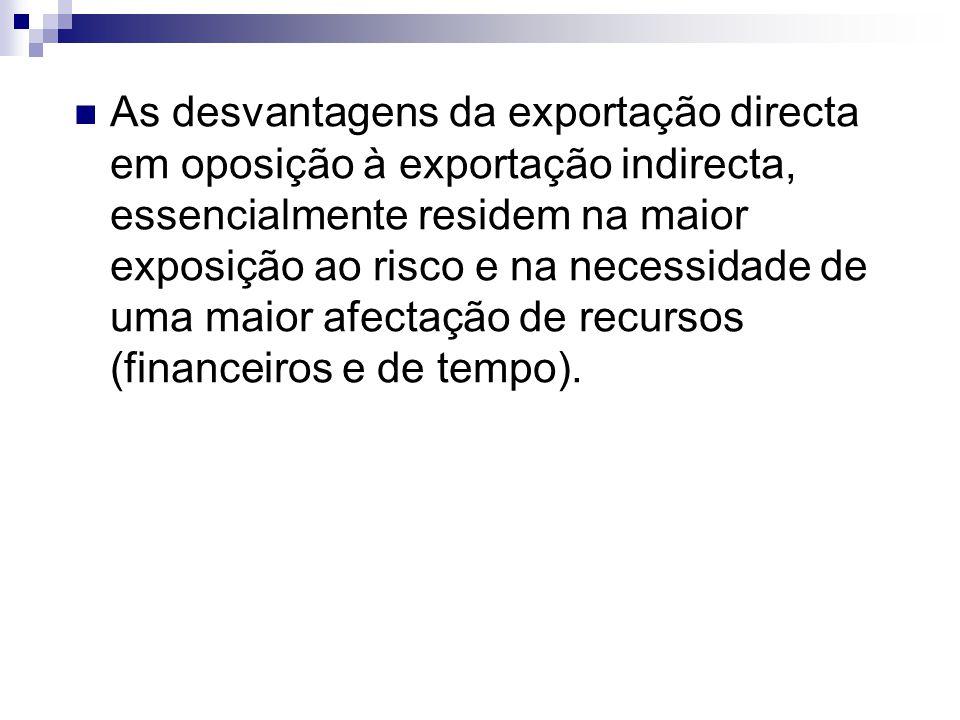 As desvantagens da exportação directa em oposição à exportação indirecta, essencialmente residem na maior exposição ao risco e na necessidade de uma m