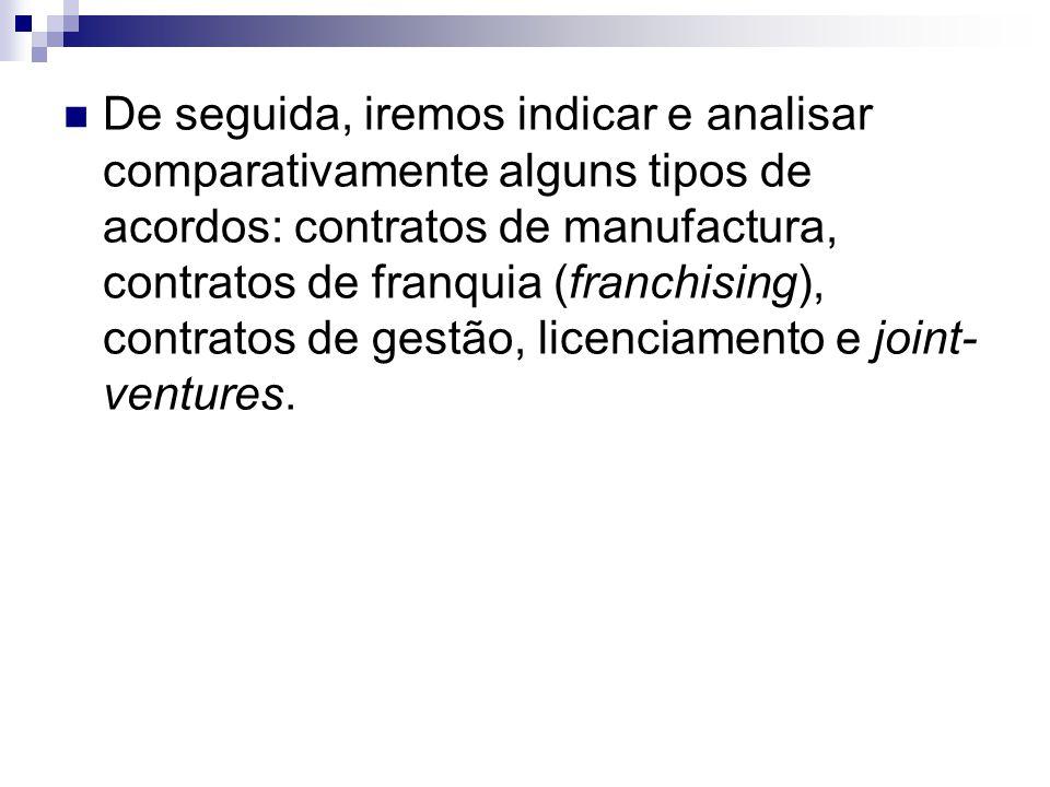 De seguida, iremos indicar e analisar comparativamente alguns tipos de acordos: contratos de manufactura, contratos de franquia (franchising), contrat