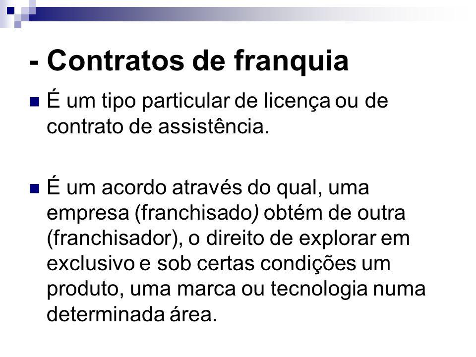 - Contratos de franquia É um tipo particular de licença ou de contrato de assistência. É um acordo através do qual, uma empresa (franchisado) obtém de
