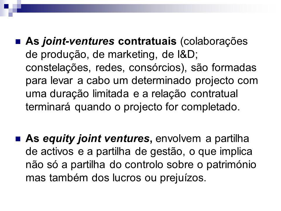 As joint-ventures contratuais (colaborações de produção, de marketing, de I&D; constelações, redes, consórcios), são formadas para levar a cabo um det